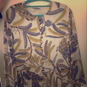 Long sleeved Silk shirt/dress